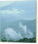 Blue Ridge Fog High Wood Print