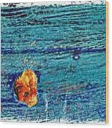 Blue Rusted Steel Painted Background Wood Print