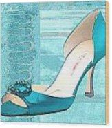 Blue Satin Ball Gown Pump Wood Print