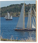 Blue Schooner 03 Wood Print