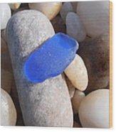Blue Sea Glass Wood Print