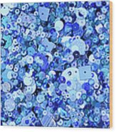 Blue Sequins Of Various Shapes And Sizes Wood Print by Andrew Paterson