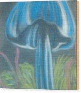 Blue Shroom Wood Print