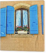 Blue Shutters In Provence Wood Print