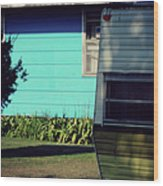 Blue Siding And Camper Wood Print
