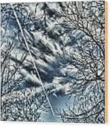 Blue Skies And Contrails Wood Print