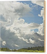 Blue Sky And Building Storm Clouds Fiane Art Print Wood Print