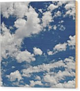 Blue Sky And Clouds Wood Print