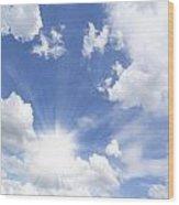 Blue Sky And Sun Ray Wood Print