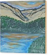 Blue Sky Mountain Range Wood Print