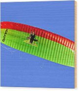 Blue Sky Paraglider Wood Print