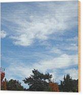 Blue Sky White Clouds Autumn Prints Wood Print