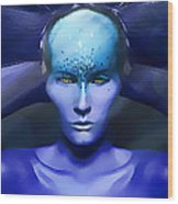 Blue Star Wood Print by Yosi Cupano
