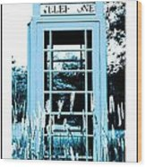 Blue Telephone Booth In A Field In Maine Wood Print by Kara Ray