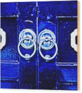 Blue Temple Doors Wood Print