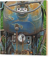 Blue Tractors Driver's Seat Wood Print