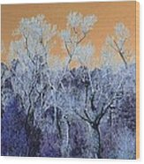 Blue Trees New Mexico Wood Print