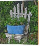 Blue Tub Wood Print
