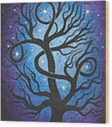 Blue Twisted Tree Wood Print