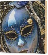 Blue Venetian Mask Wood Print