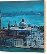 Blue Venice Wood Print