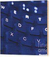 Blue Warped Keyboard Wood Print