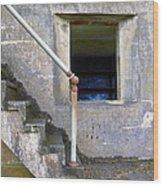 Blue Window Bunker Wood Print
