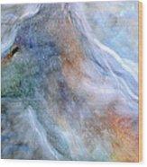 Blue Wolf In Mist Wood Print