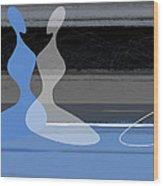 Blue Women Wood Print
