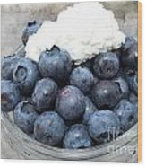 Blueberries And Cottage Cheese Wood Print