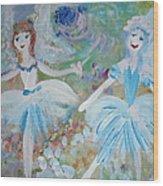 Blueberry Fairies Wood Print