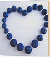 Blueberry Heart Wood Print by Julia Wilcox