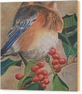 Bluebird And Berries Wood Print