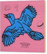 Bluebird On Pink Wood Print