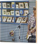 Blues Guitarist Wood Print