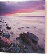 Bluffs Beach Sunset 2 Wood Print