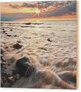 Bluffs Beach Sunset 3 Wood Print