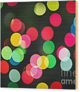 Blurred Christmas Lights Wood Print