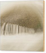 Blurred Motion Photo Of Water Rushing Wood Print