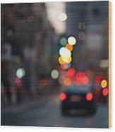 Blurred Traffic Jam Wood Print