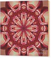 Blushing Flower Kaleid Wood Print
