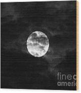Blustery Blue Moon Wood Print