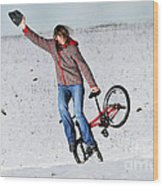 Bmx Flatland In The Snow - Monika Hinz Wood Print