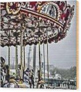 Boardwalk Carousel Wood Print