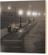 Boardwalk In The Fog Wood Print