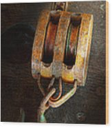 Boat - Block And Tackle II Wood Print
