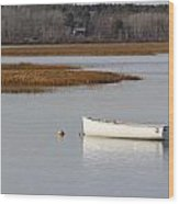 Boat Anchored At Pine Point Scarborough Maine Wood Print