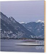 Boat And Alps Wood Print