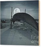 Boat And Moon Wood Print