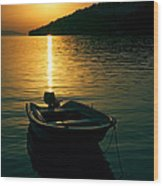 Boat And Sunset Wood Print